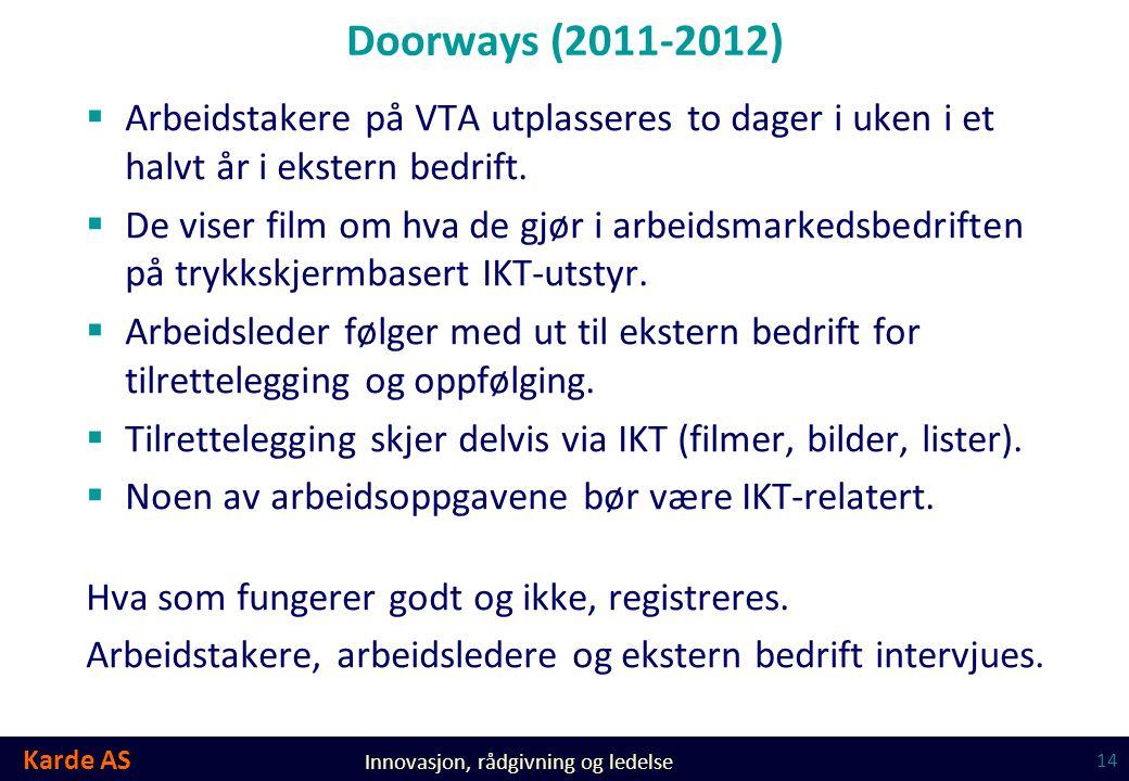 Karde AS Innovasjon, rådgivning og ledelse Doorways (2011-2012)  Arbeidstakere på VTA utplasseres to dager i uken i et halvt år i ekstern bedrift. 