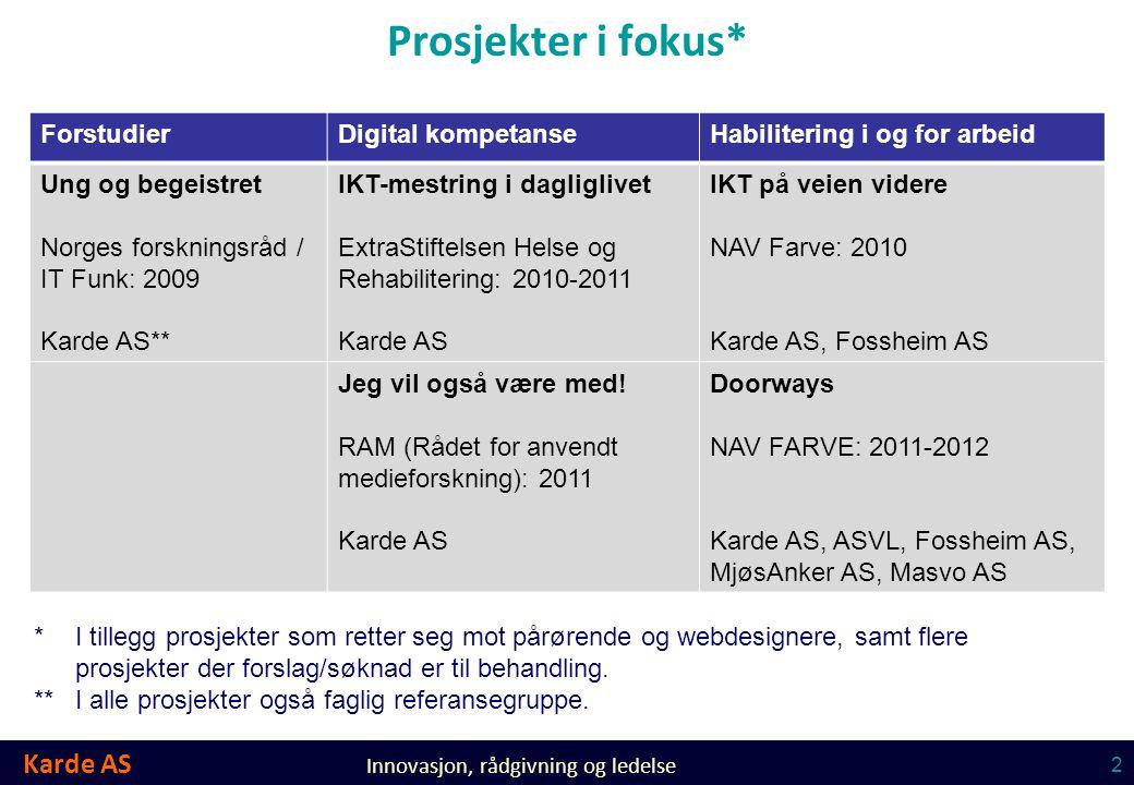 Karde AS Innovasjon, rådgivning og ledelse 2 Prosjekter i fokus* ForstudierDigital kompetanseHabilitering i og for arbeid Ung og begeistret Norges for
