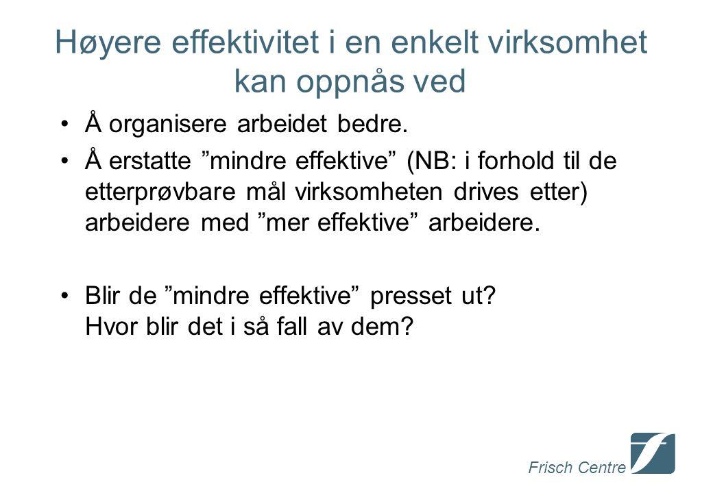 Frisch Centre Høyere effektivitet i en enkelt virksomhet kan oppnås ved Å organisere arbeidet bedre.