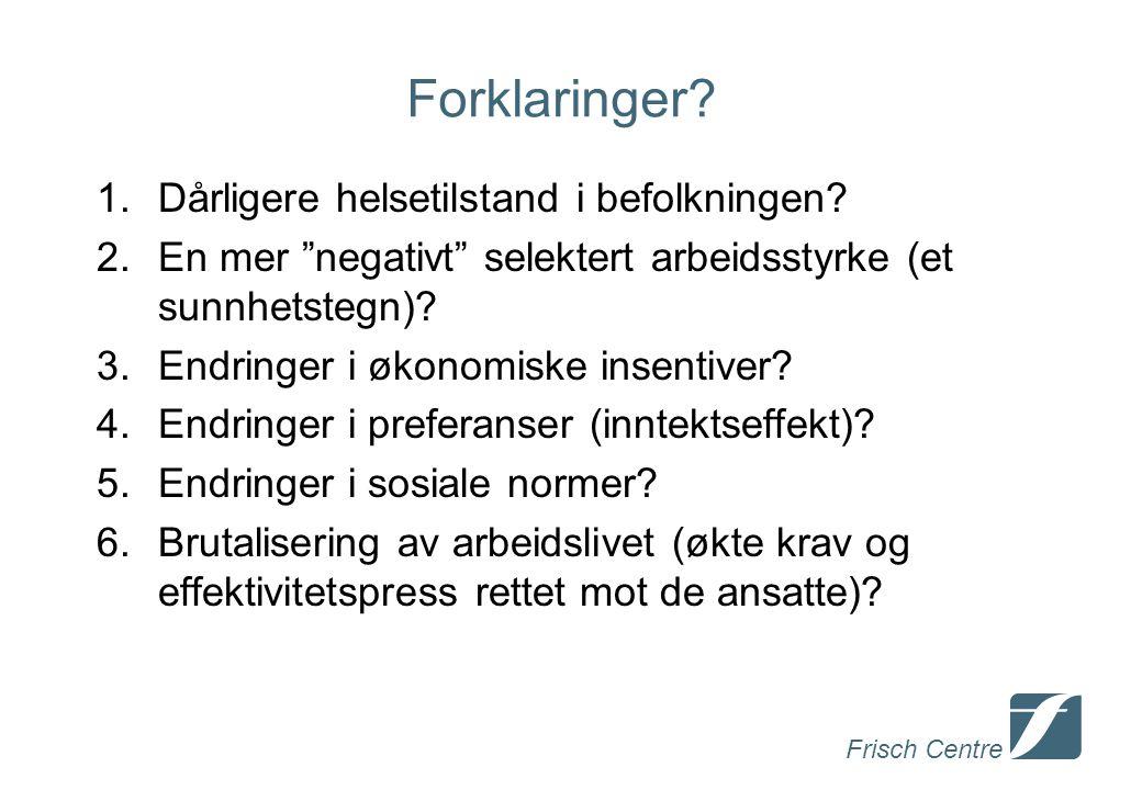 Frisch Centre Forklaringer. 1.Dårligere helsetilstand i befolkningen.