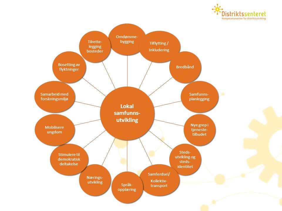 Lokal samfunns- utvikling Omdømme- bygging Tilflytting / Inkludering Bredbånd Samfunns- planlegging Nye grep i tjeneste- tilbudet Steds- utvikling og