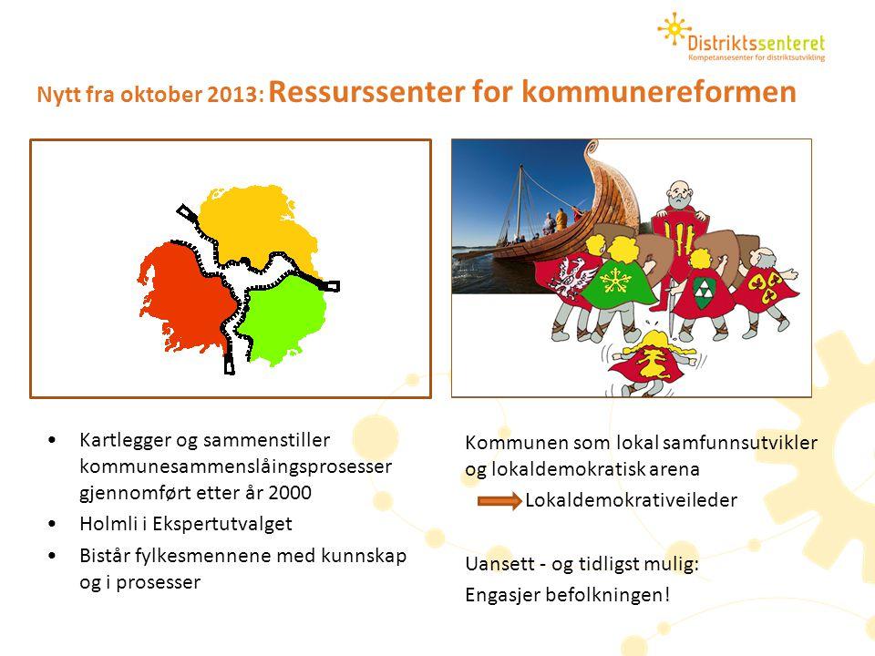 Nytt fra oktober 2013: Ressurssenter for kommunereformen Kartlegger og sammenstiller kommunesammenslåingsprosesser gjennomført etter år 2000 Holmli i