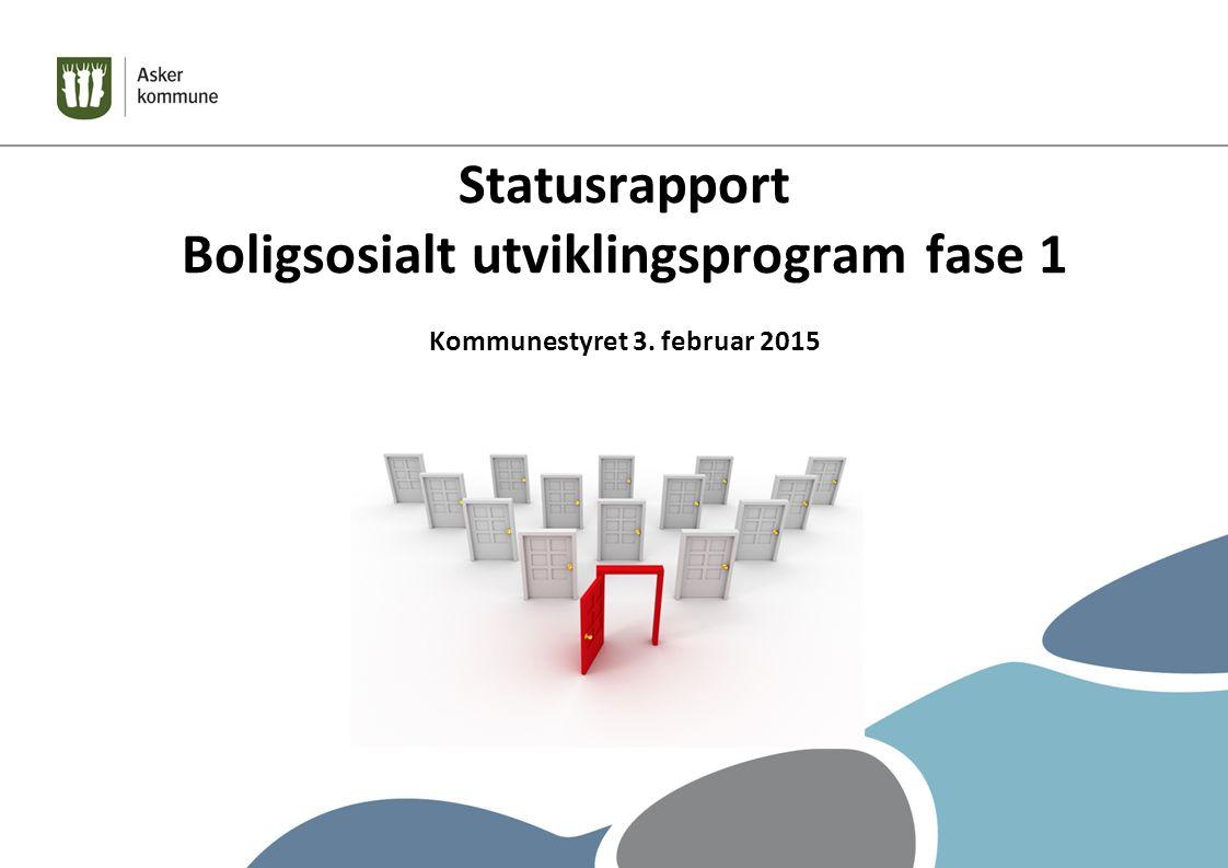 Statusrapport Boligsosialt utviklingsprogram fase 1 Kommunestyret 3. februar 2015