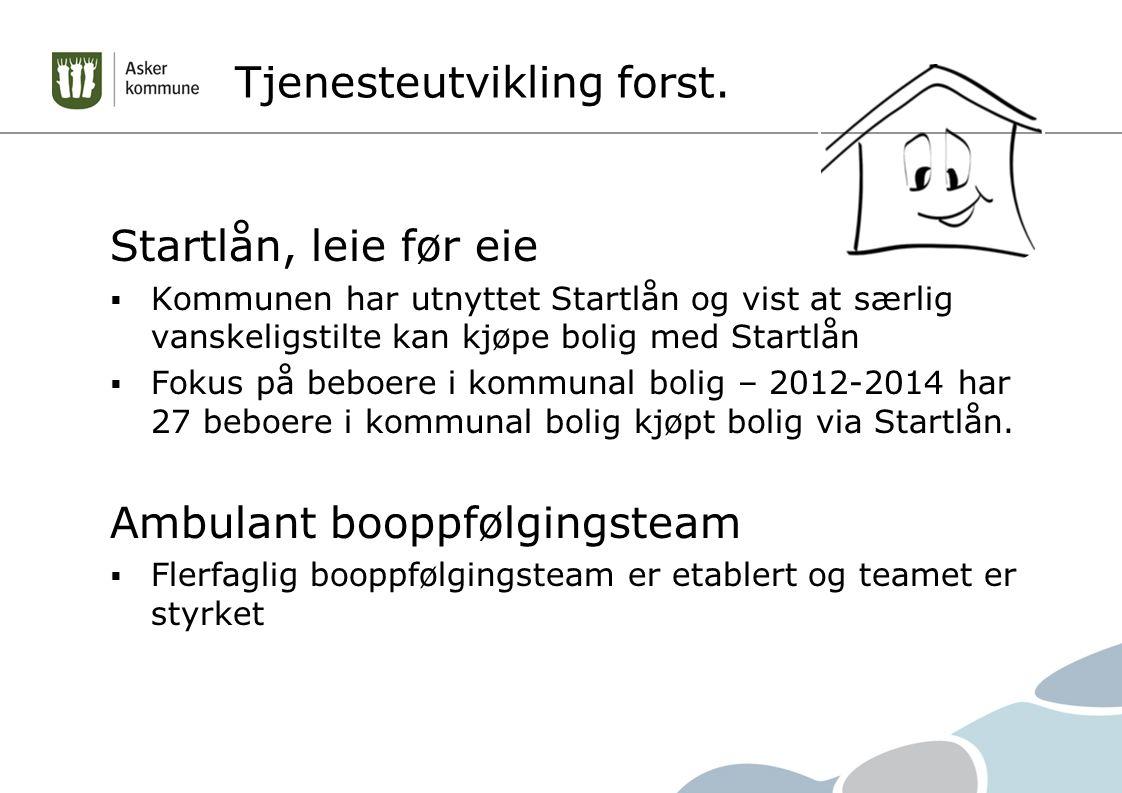 Tjenesteutvikling forst. Startlån, leie før eie  Kommunen har utnyttet Startlån og vist at særlig vanskeligstilte kan kjøpe bolig med Startlån  Foku