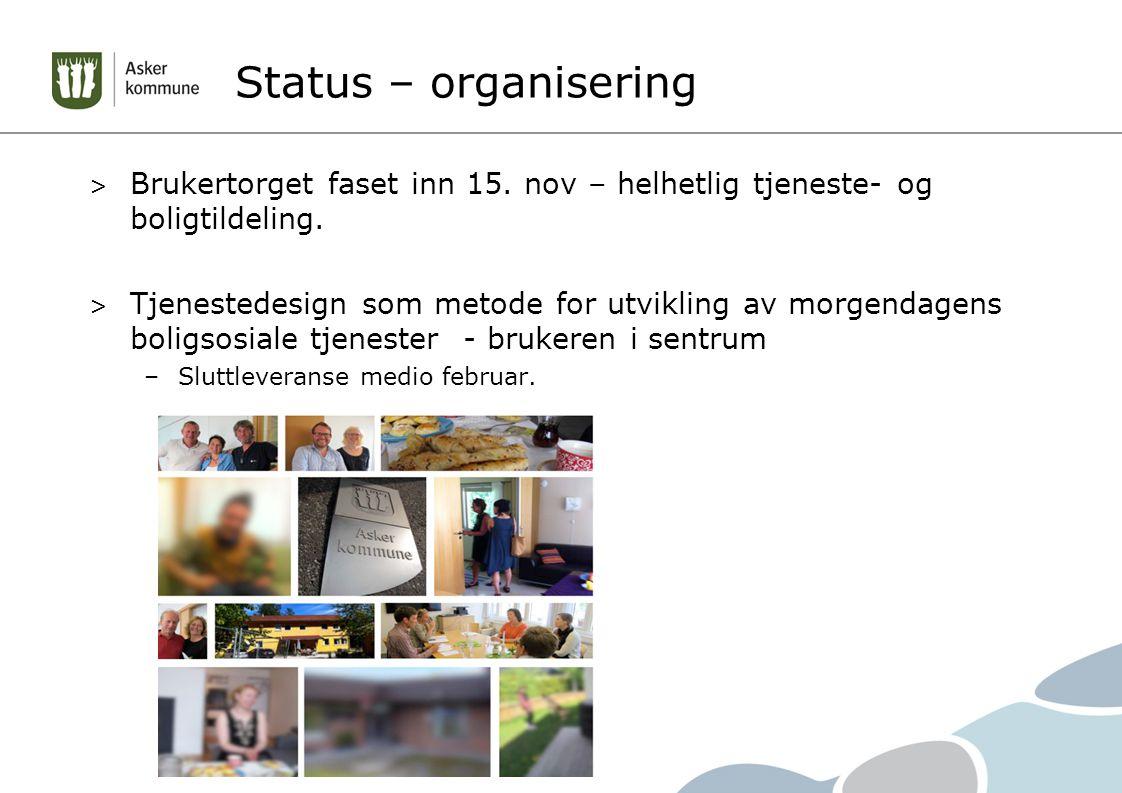 Status – organisering > Brukertorget faset inn 15. nov – helhetlig tjeneste- og boligtildeling. > Tjenestedesign som metode for utvikling av morgendag