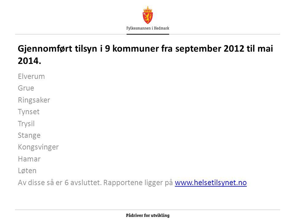 Gjennomført tilsyn i 9 kommuner fra september 2012 til mai 2014. Elverum Grue Ringsaker Tynset Trysil Stange Kongsvinger Hamar Løten Av disse så er 6