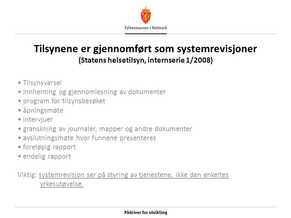 Tilsynene er gjennomført som systemrevisjoner (Statens helsetilsyn, internserie 1/2008) Tilsynsvarsel Innhenting og gjennomlesning av dokumenter progr