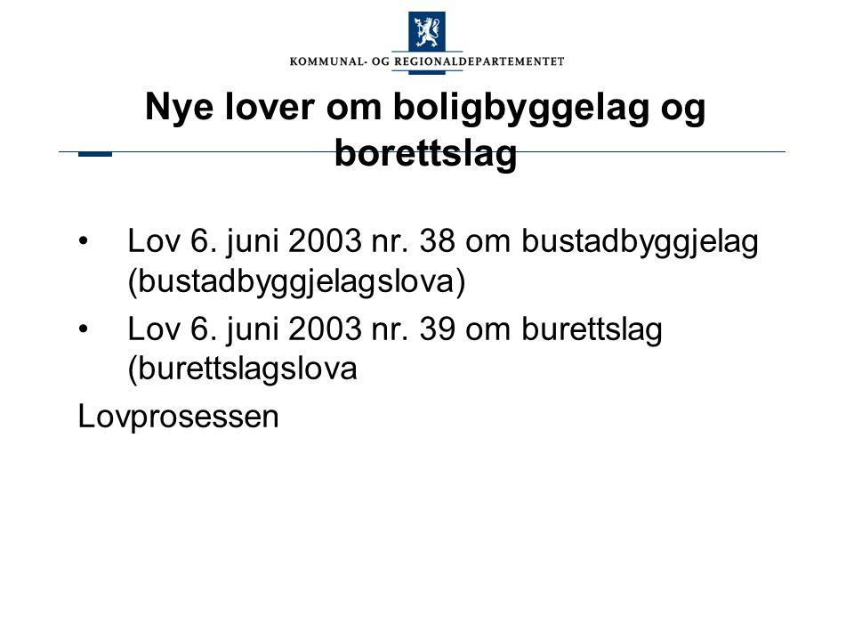 Nye lover om boligbyggelag og borettslag Lov 6. juni 2003 nr. 38 om bustadbyggjelag (bustadbyggjelagslova) Lov 6. juni 2003 nr. 39 om burettslag (bure