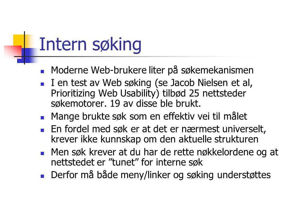 Intern søking Moderne Web-brukere liter på søkemekanismen I en test av Web søking (se Jacob Nielsen et al, Prioritizing Web Usability) tilbød 25 netts