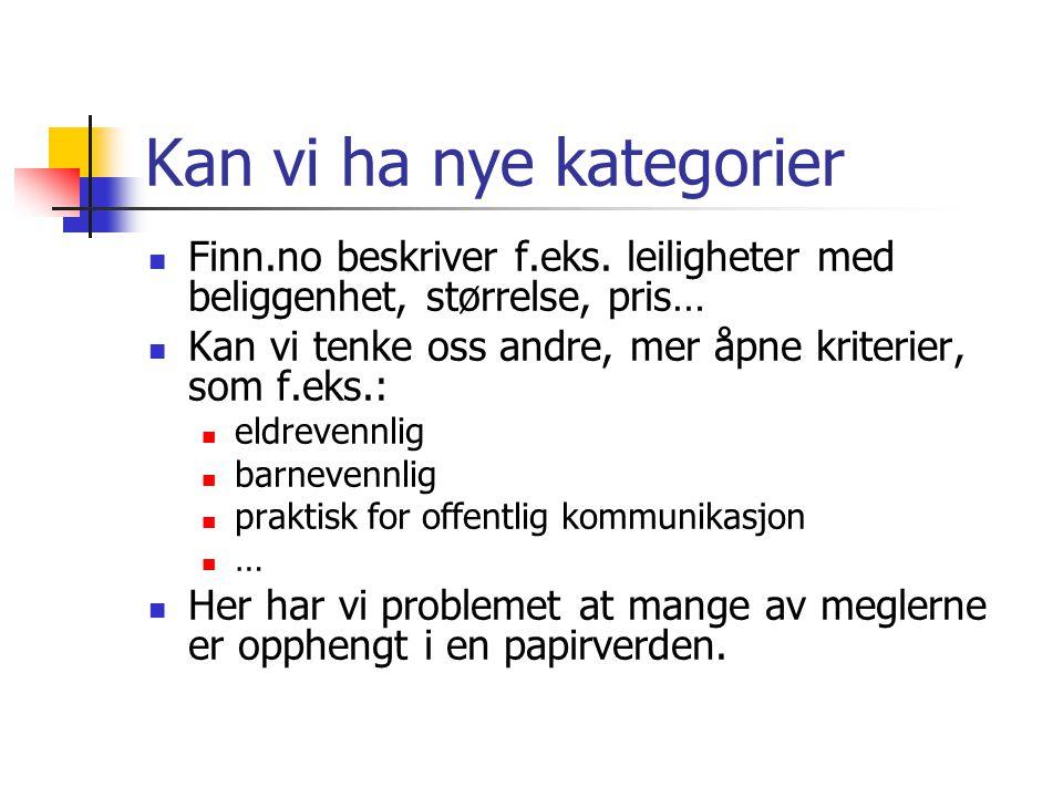 Kan vi ha nye kategorier Finn.no beskriver f.eks.