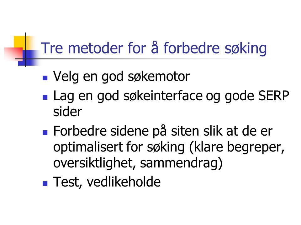 Tre metoder for å forbedre søking Velg en god søkemotor Lag en god søkeinterface og gode SERP sider Forbedre sidene på siten slik at de er optimalisert for søking (klare begreper, oversiktlighet, sammendrag) Test, vedlikeholde