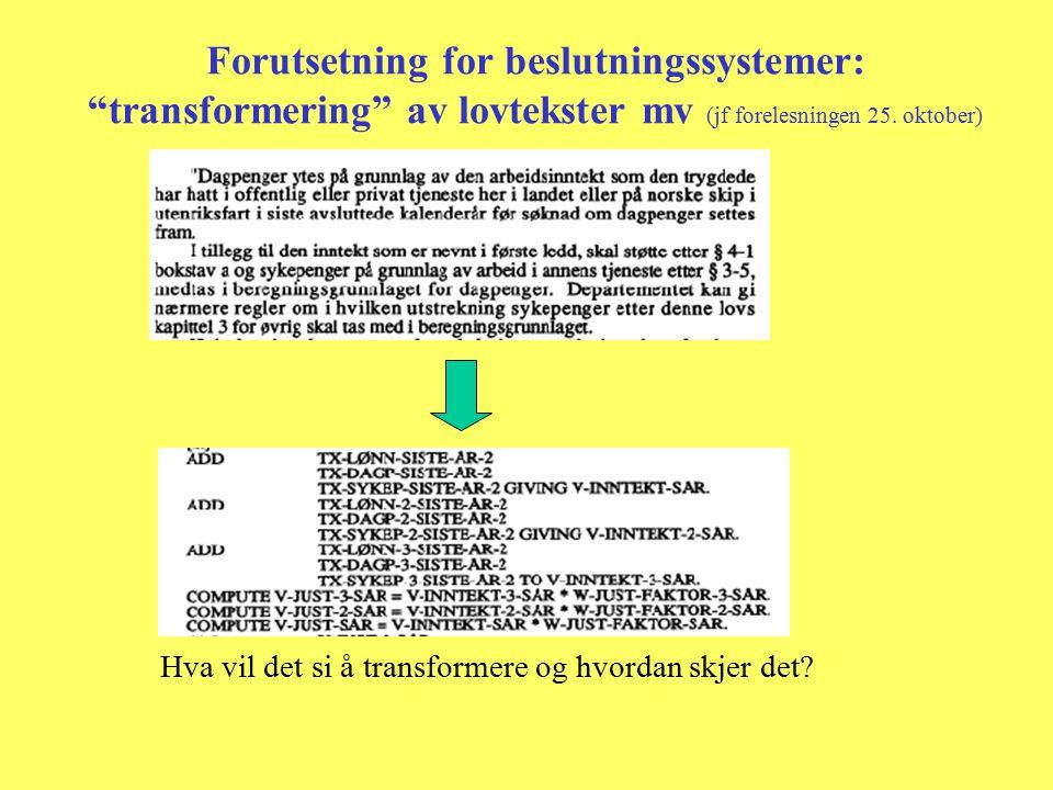 Forutsetning for beslutningssystemer: transformering av lovtekster mv (jf forelesningen 25.