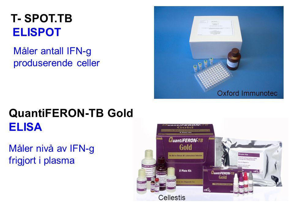 QuantiFERON-TB Gold ELISA T- SPOT.TB ELISPOT Måler antall IFN-g produserende celler Måler nivå av IFN-g frigjort i plasma Oxford Immunotec Cellestis