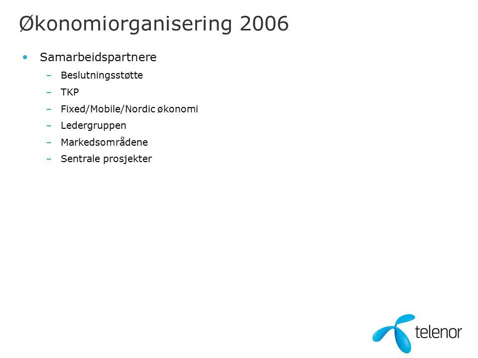 Samarbeidspartnere –Beslutningsstøtte –TKP –Fixed/Mobile/Nordic økonomi –Ledergruppen –Markedsområdene –Sentrale prosjekter Økonomiorganisering 2006