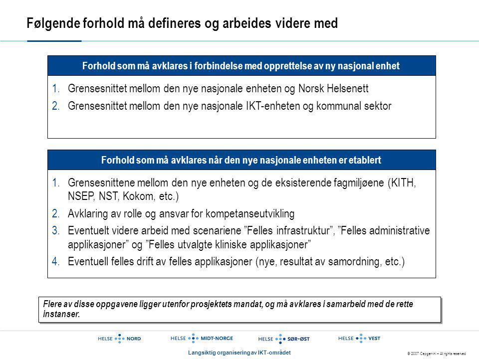 © 2007 Capgemini – All rights reserved Langsiktig organisering av IKT-området Følgende forhold må defineres og arbeides videre med Forhold som må avkl
