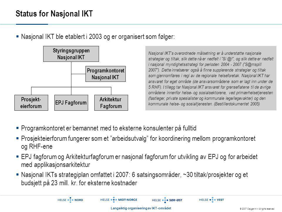 © 2007 Capgemini – All rights reserved Langsiktig organisering av IKT-området Status for Nasjonal IKT  Nasjonal IKT ble etablert i 2003 og er organis