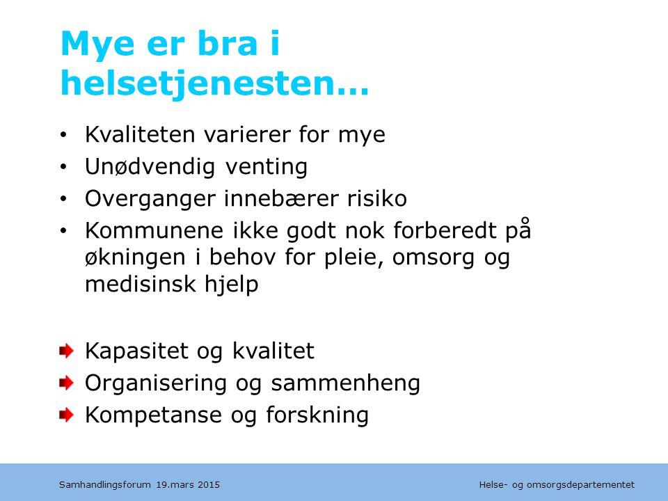 Helse- og omsorgsdepartementet Dagens sykehusstruktur Opptaksområde lokalsykehusfunksjon Samhandlingsforum 19.mars 2015