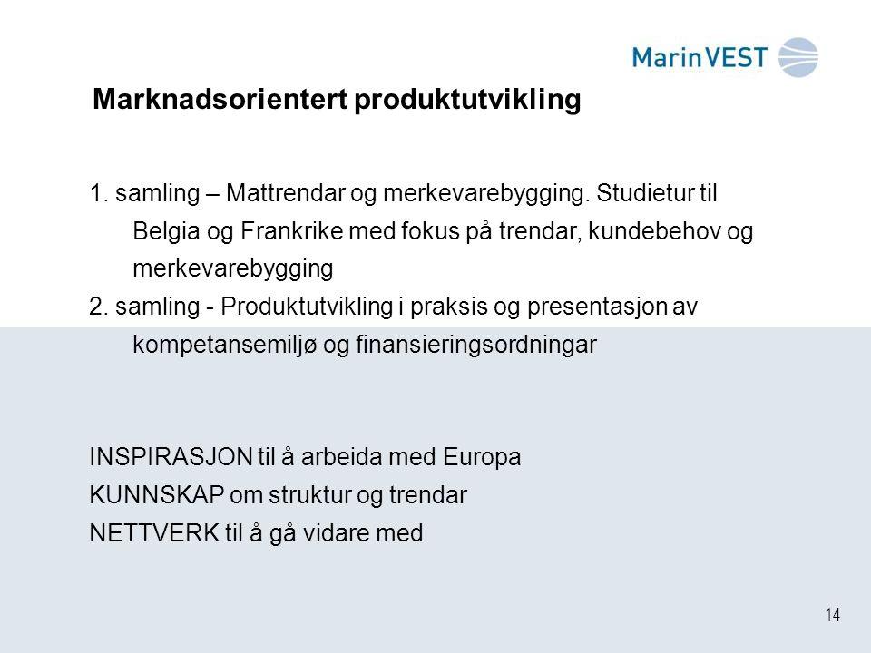 14 Marknadsorientert produktutvikling 1. samling – Mattrendar og merkevarebygging. Studietur til Belgia og Frankrike med fokus på trendar, kundebehov