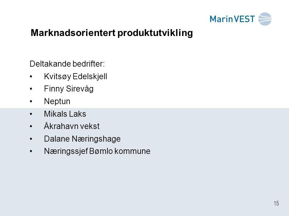 15 Marknadsorientert produktutvikling Deltakande bedrifter: Kvitsøy Edelskjell Finny Sirevåg Neptun Mikals Laks Åkrahavn vekst Dalane Næringshage Næringssjef Bømlo kommune