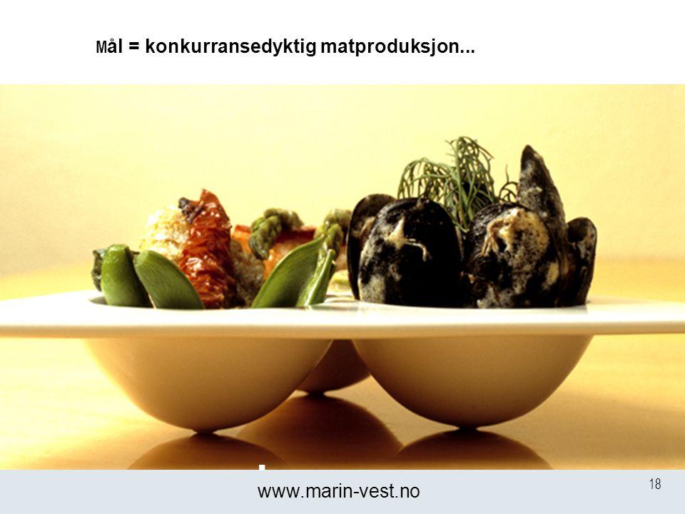 18 M ål = konkurransedyktig matproduksjon...  www.marin-vest.no