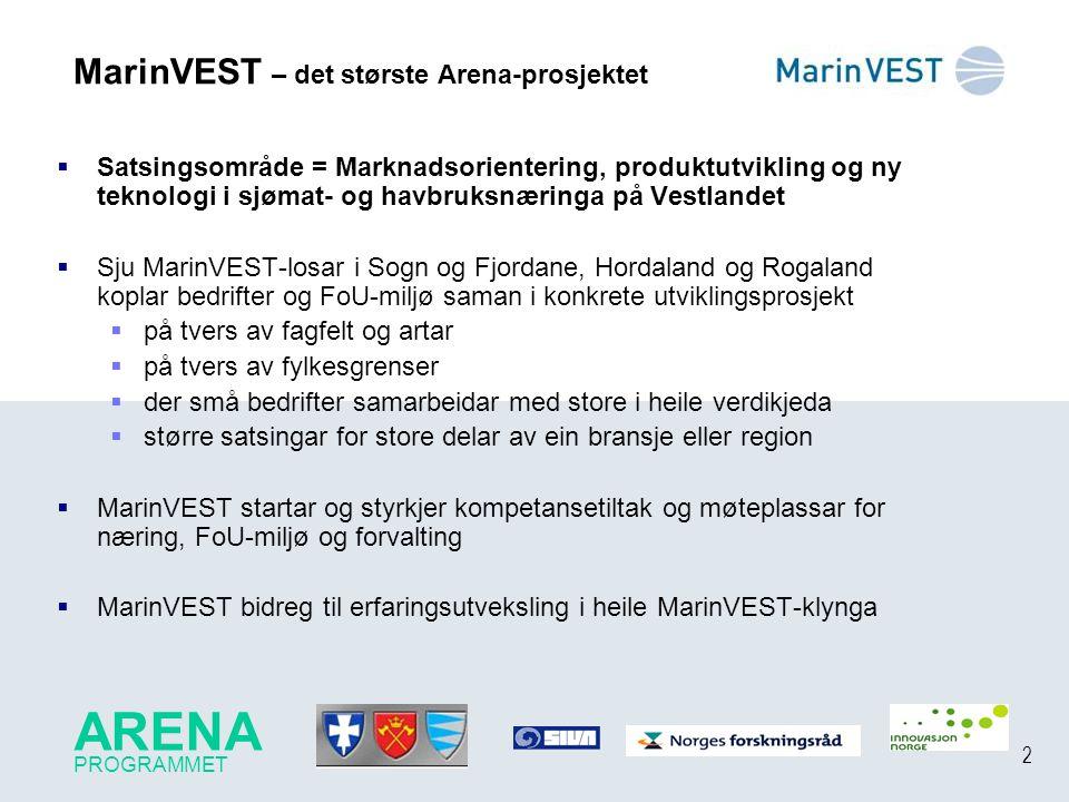 2 MarinVEST – det største Arena-prosjektet  Satsingsområde = Marknadsorientering, produktutvikling og ny teknologi i sjømat- og havbruksnæringa på Ve