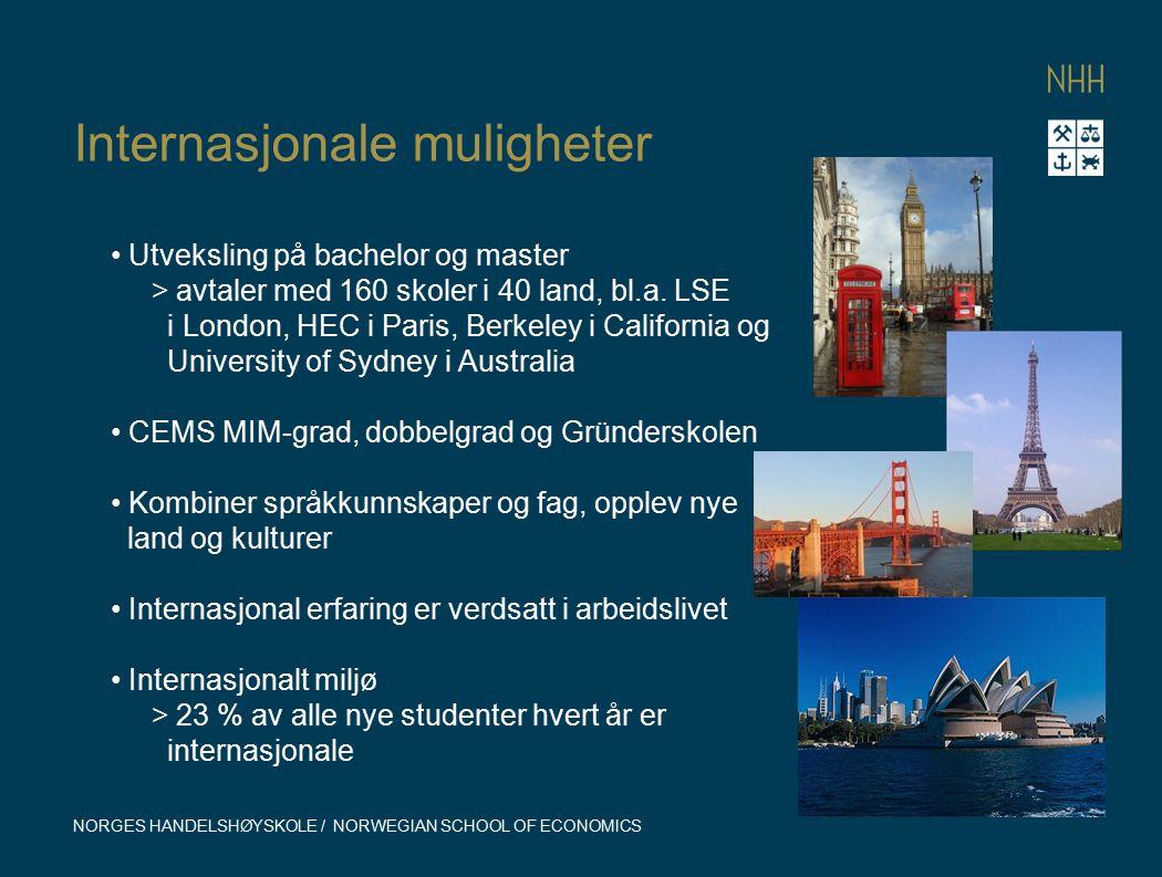 Internasjonale muligheter NORGES HANDELSHØYSKOLE / NORWEGIAN SCHOOL OF ECONOMICS Utveksling på bachelor og master > avtaler med 160 skoler i 40 land,