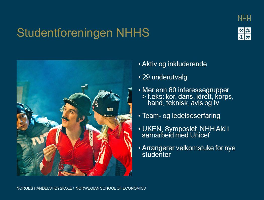 Studentforeningen NHHS NORGES HANDELSHØYSKOLE / NORWEGIAN SCHOOL OF ECONOMICS Aktiv og inkluderende 29 underutvalg Mer enn 60 interessegrupper > f.eks