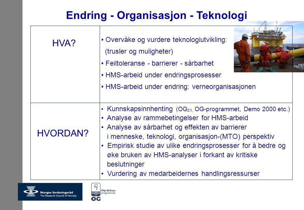 Endring - Organisasjon - Teknologi Kunnskapsinnhenting (OG 21, OG-programmet, Demo 2000 etc.) Analyse av rammebetingelser for HMS-arbeid Analyse av sårbarhet og effekten av barrierer i menneske, teknologi, organisasjon-(MTO) perspektiv Empirisk studie av ulike endringsprosesser for å bedre og øke bruken av HMS-analyser i forkant av kritiske beslutninger Vurdering av medarbeidernes handlingsressurser Overvåke og vurdere teknologiutvikling: (trusler og muligheter) Feiltoleranse - barrierer - sårbarhet HMS-arbeid under endringsprosesser HMS-arbeid under endring: verneorganisasjonen HVA.