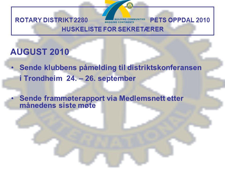 ROTARY DISTRIKT 2280 PETS OPPDAL 2010 HUSKELISTE FOR SEKRETÆRER Sende klubbens påmelding til distriktskonferansen i Trondheim 24. – 26. september Send