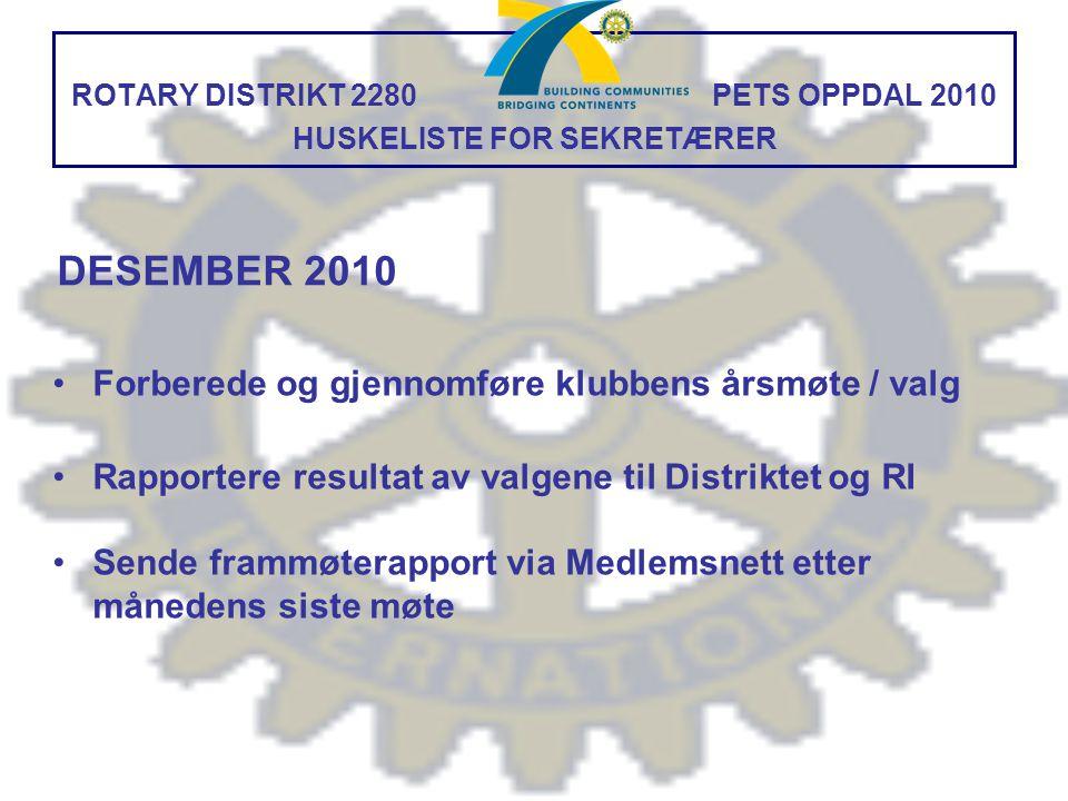 ROTARY DISTRIKT 2280 PETS OPPDAL 2010 HUSKELISTE FOR SEKRETÆRER Forberede og gjennomføre klubbens årsmøte / valg Rapportere resultat av valgene til Di