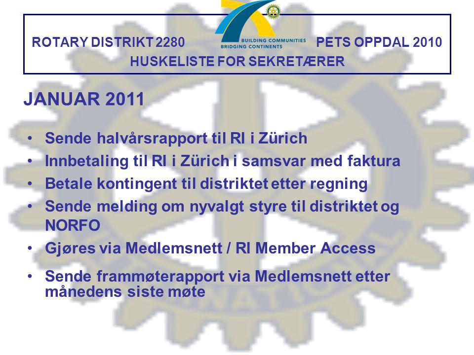 ROTARY DISTRIKT 2280 PETS OPPDAL 2010 HUSKELISTE FOR SEKRETÆRER Sende halvårsrapport til RI i Zürich Innbetaling til RI i Zürich i samsvar med faktura