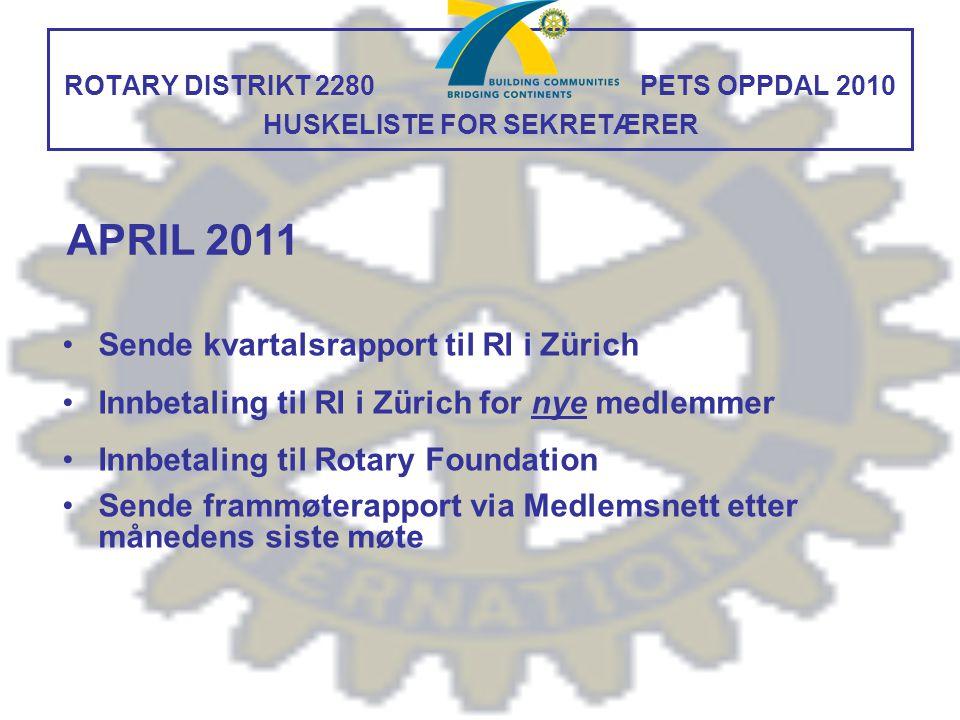 ROTARY DISTRIKT 2280 PETS OPPDAL 2010 HUSKELISTE FOR SEKRETÆRER Sende kvartalsrapport til RI i Zürich Innbetaling til RI i Zürich for nye medlemmer In