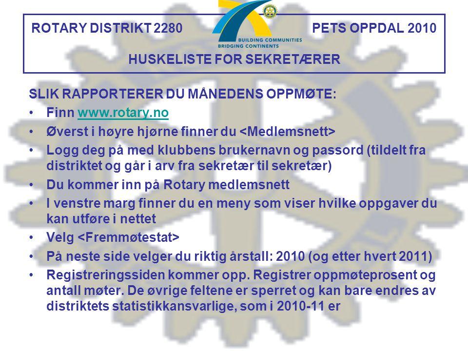 ROTARY DISTRIKT 2280 PETS OPPDAL 2010 HUSKELISTE FOR SEKRETÆRER SLIK RAPPORTERER DU MÅNEDENS OPPMØTE: Finn www.rotary.nowww.rotary.no Øverst i høyre h