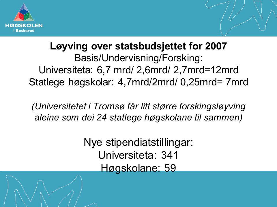 Løyving over statsbudsjettet for 2007 Basis/Undervisning/Forsking: Universiteta: 6,7 mrd/ 2,6mrd/ 2,7mrd=12mrd Statlege høgskolar: 4,7mrd/2mrd/ 0,25mr