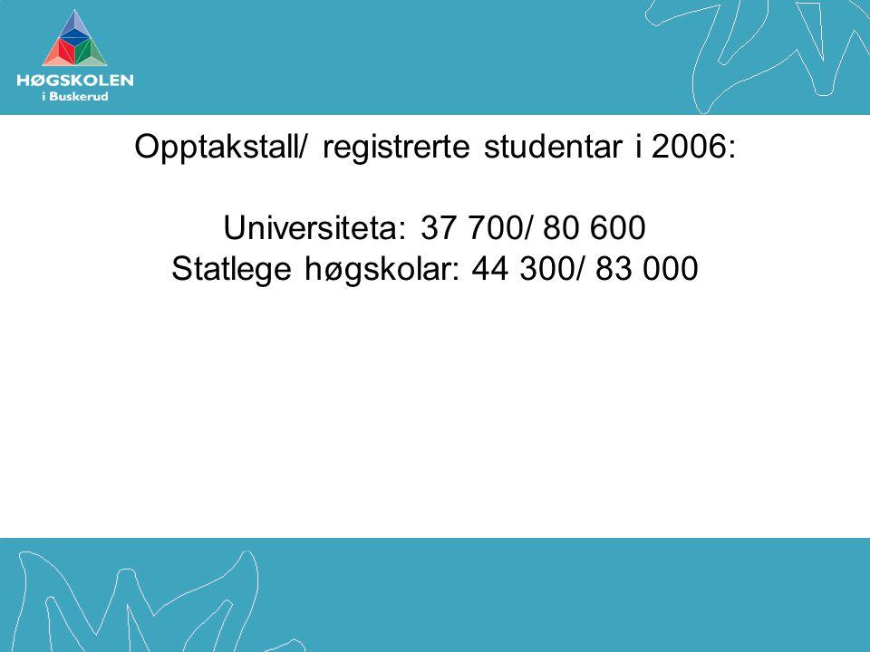 Opptakstall/ registrerte studentar i 2006: Universiteta: 37 700/ 80 600 Statlege høgskolar: 44 300/ 83 000