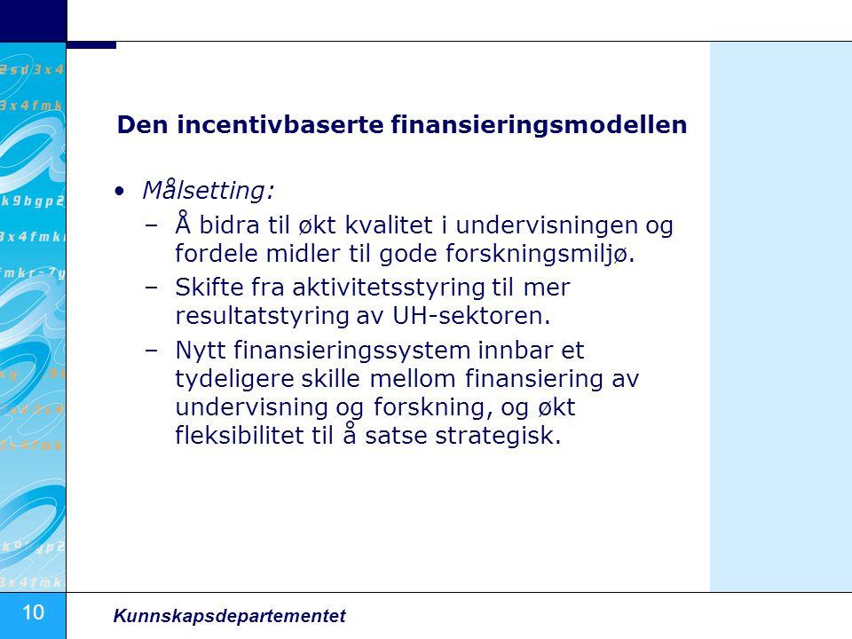 10 Kunnskapsdepartementet Den incentivbaserte finansieringsmodellen Målsetting: –Å bidra til økt kvalitet i undervisningen og fordele midler til gode forskningsmiljø.
