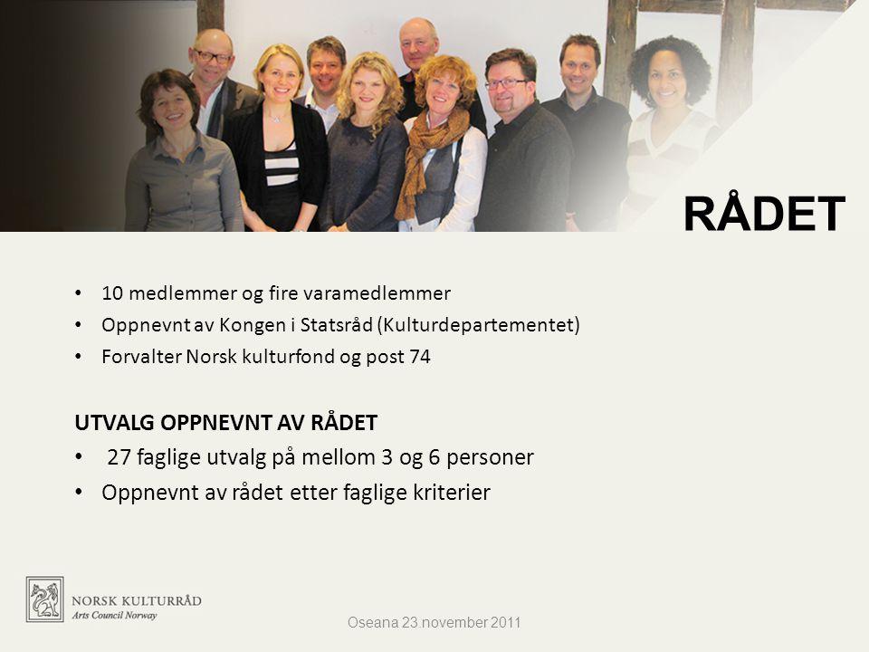 10 medlemmer og fire varamedlemmer Oppnevnt av Kongen i Statsråd (Kulturdepartementet) Forvalter Norsk kulturfond og post 74 UTVALG OPPNEVNT AV RÅDET