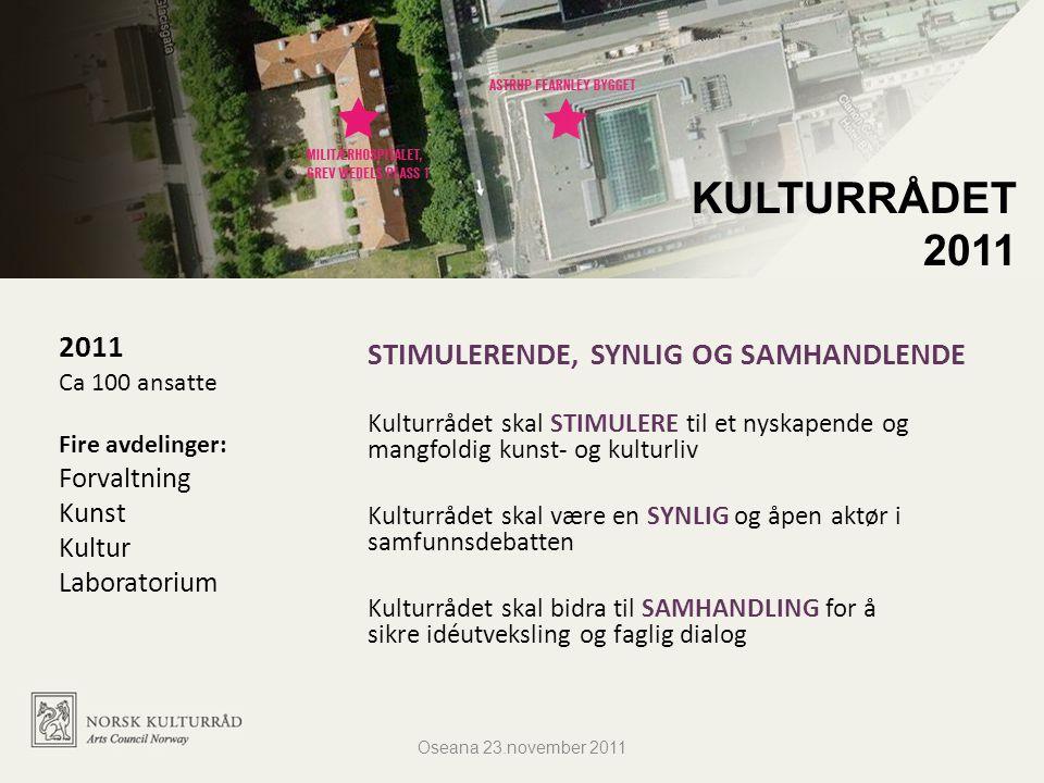2011 Ca 100 ansatte Fire avdelinger: Forvaltning Kunst Kultur Laboratorium KULTURRÅDET 2011 STIMULERENDE, SYNLIG OG SAMHANDLENDE Kulturrådet skal STIM