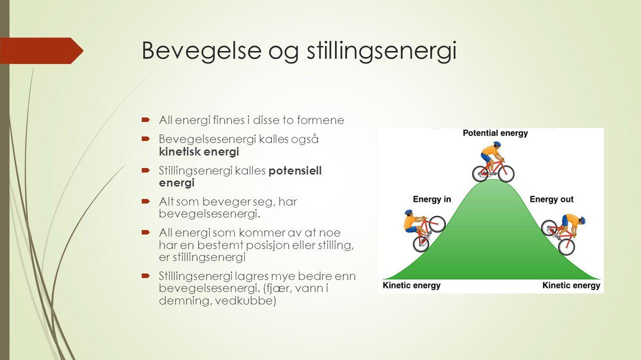 Bevegelse og stillingsenergi  All energi finnes i disse to formene  Bevegelsesenergi kalles også kinetisk energi  Stillingsenergi kalles potensiell