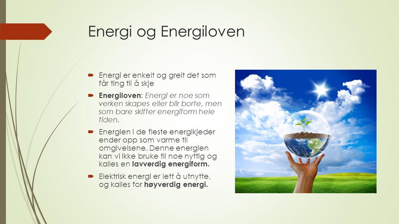 Energi og Energiloven  Energi er enkelt og greit det som får ting til å skje  Energiloven : Energi er noe som verken skapes eller blir borte, men so