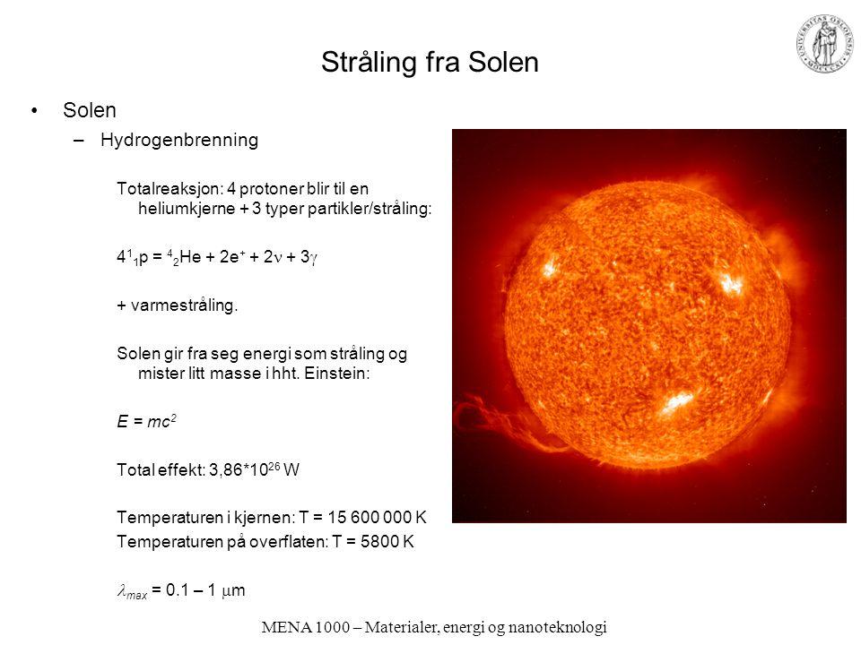 MENA 1000 – Materialer, energi og nanoteknologi Stråling fra Solen Solen –Hydrogenbrenning Totalreaksjon: 4 protoner blir til en heliumkjerne + 3 type