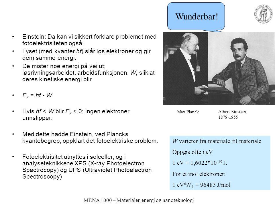MENA 1000 – Materialer, energi og nanoteknologi Einstein: Da kan vi sikkert forklare problemet med fotoelektrisiteten også: Lyset (med kvanter hf) slå