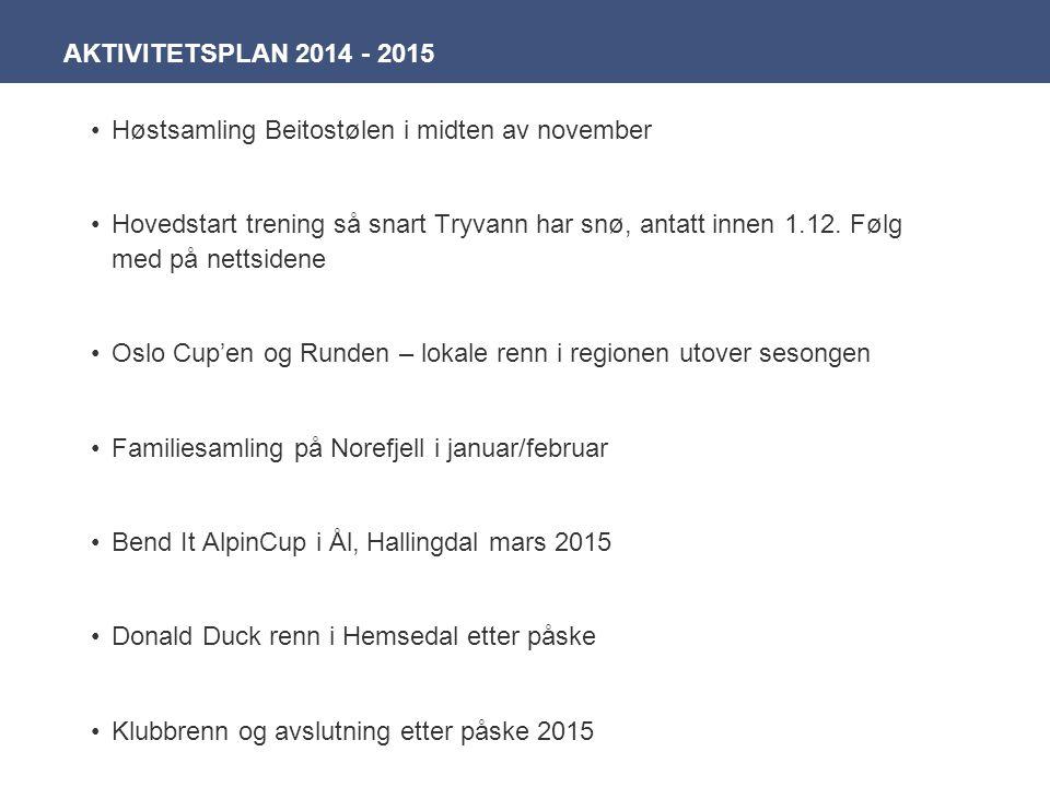 Høstsamling Beitostølen i midten av november Hovedstart trening så snart Tryvann har snø, antatt innen 1.12. Følg med på nettsidene Oslo Cup'en og Run