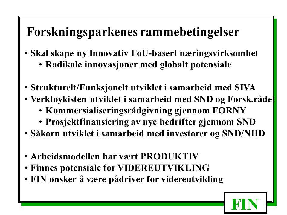 Lisenser til etablerte bedrifter Inkubator/Såkorn bedrifter Stimulering -Idéstimuler -Holdning -Kultur -Tilrettelegg Kommers- ialisering -Beskyttelse -Forr.plan -Finansier -Etablering Kom.