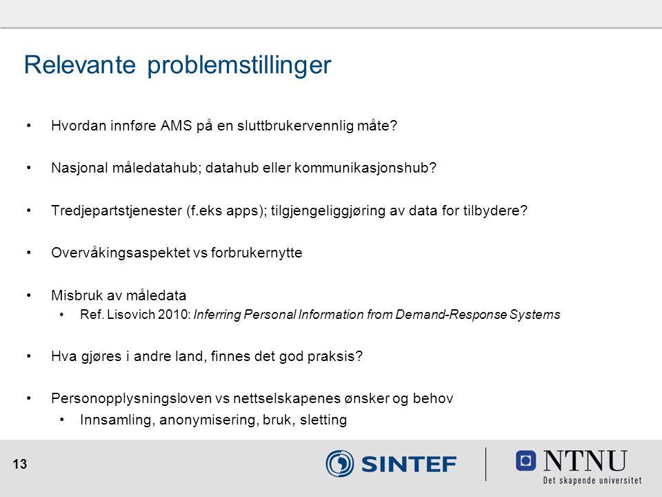 13 Hvordan innføre AMS på en sluttbrukervennlig måte? Nasjonal måledatahub; datahub eller kommunikasjonshub? Tredjepartstjenester (f.eks apps); tilgje