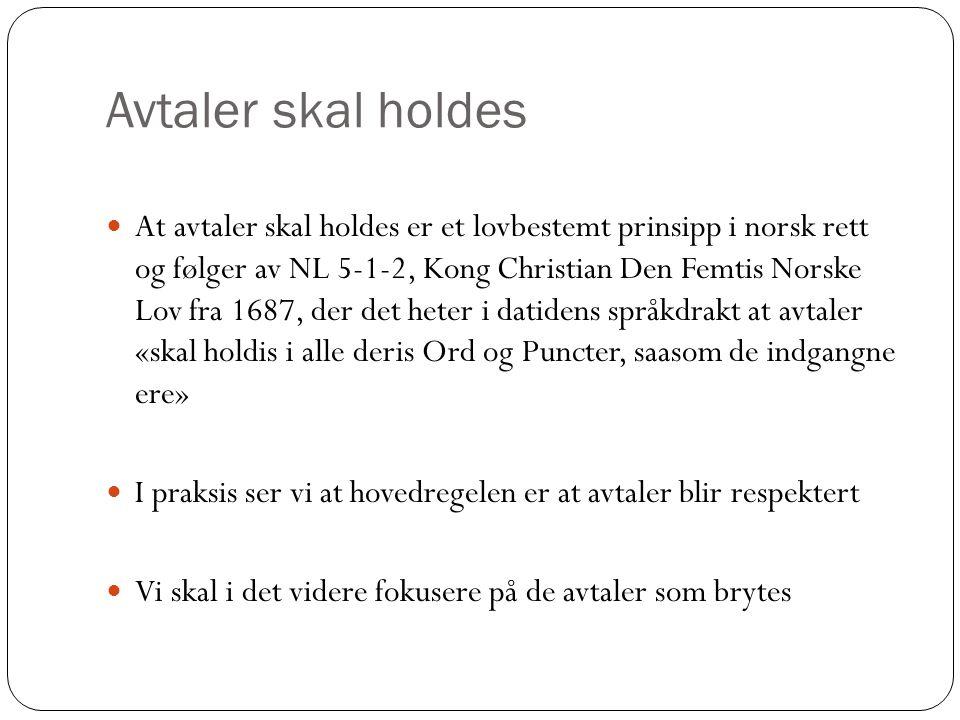 Avtaler skal holdes At avtaler skal holdes er et lovbestemt prinsipp i norsk rett og følger av NL 5-1-2, Kong Christian Den Femtis Norske Lov fra 1687