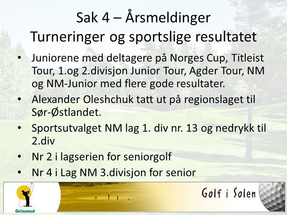 Sak 4 – Årsmeldinger Turneringer og sportslige resultatet Juniorene med deltagere på Norges Cup, Titleist Tour, 1.og 2.divisjon Junior Tour, Agder Tour, NM og NM-Junior med flere gode resultater.