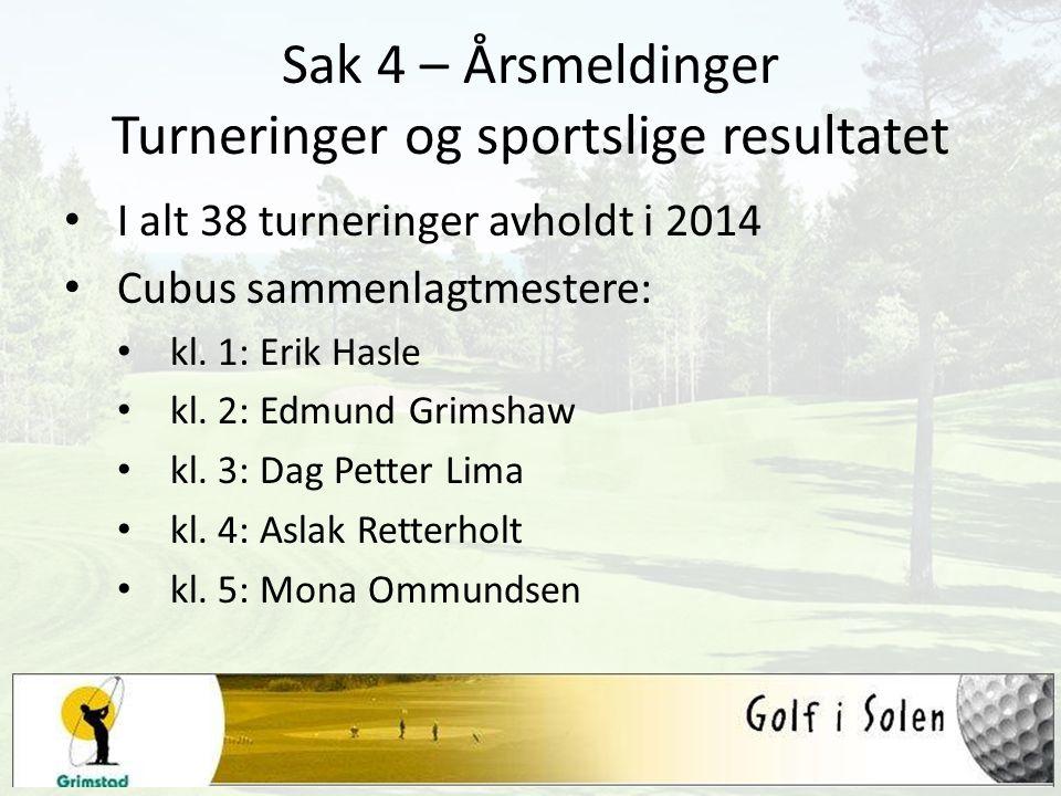 Sak 4 – Årsmeldinger Turneringer og sportslige resultatet I alt 38 turneringer avholdt i 2014 Cubus sammenlagtmestere: kl. 1: Erik Hasle kl. 2: Edmund
