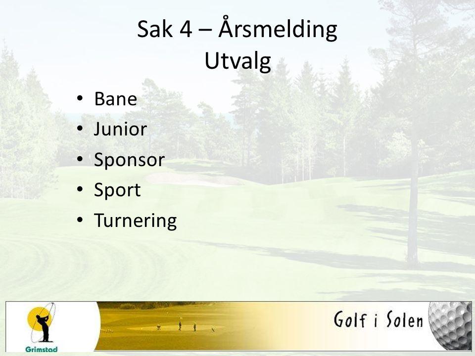 Sak 4 – Årsmelding Utvalg Bane Junior Sponsor Sport Turnering