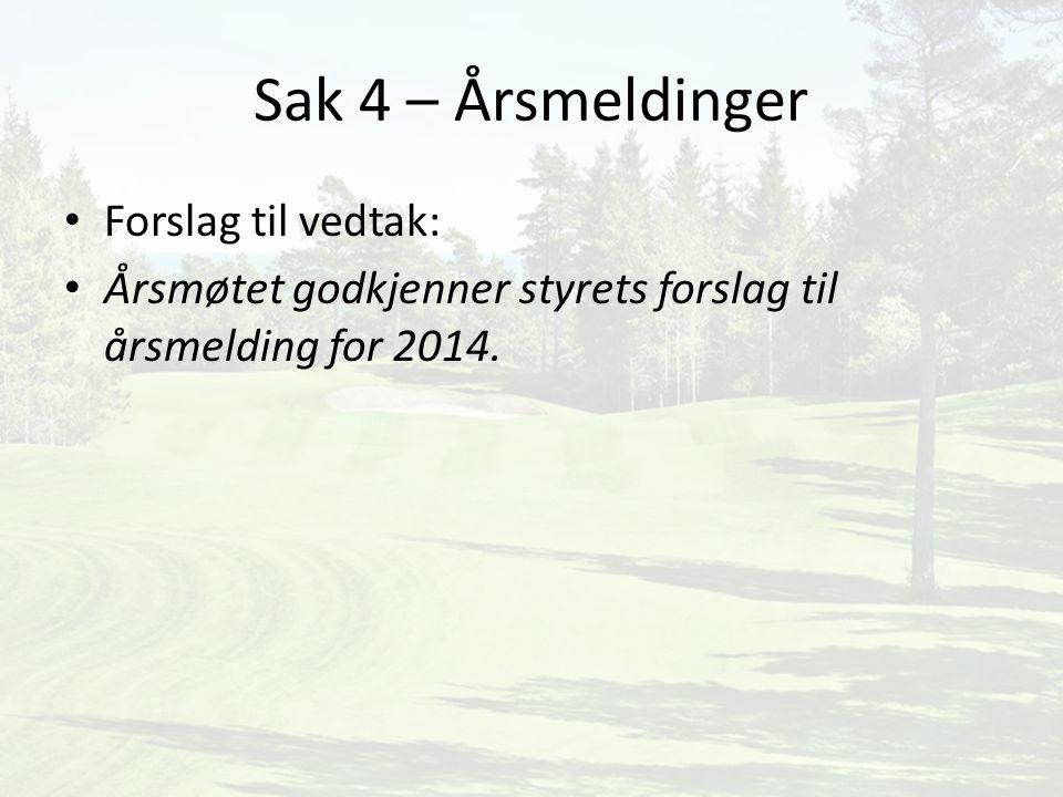 Sak 4 – Årsmeldinger Forslag til vedtak: Årsmøtet godkjenner styrets forslag til årsmelding for 2014.